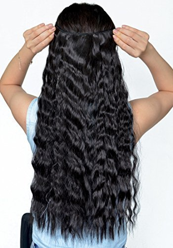 Jet Black 22 Inches Long Corn Wave Curly/Wavy One Piece Clip in Hair Extensions (3/4 Full Head) Clip Ins Hairpiece for Women Lady Girl by US Fashion Outlet