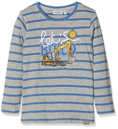 SALT AND PEPPER Jungen Longsleeve Road Works Stripe Langarmshirt, Blau (Dutch Blue Melange 447), 128 -