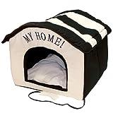 van der Watering Wohnungs Hundehütte schwarz/beige Indoorhütte Die wunderschöne, plüschig-weiche Stoffhütte mit MY HOME- Stickerei ist ein idealer Rückzugsort für kleine Hunde