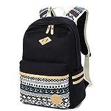 Canvas Schulrucksäcke Segeltuch Rucksack Teenager Schultasche für Jungen Mädchen, Fresion Casual Daypacks Schulranzen für 14 Zoll Laptop (Schwarz)