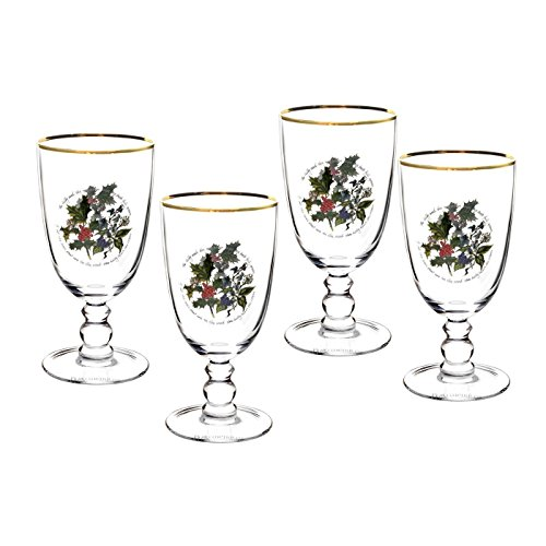 The Holly & Ivy Goblet, Glass, Multi-Colour, Set of 4