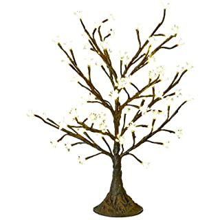 Arclite NBL-050 Cherry Blossom Tree, 2.5' Height, with Natural Brown Trunk, Clear Crystals and Warm White Lights