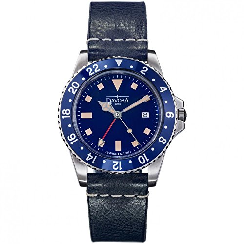Davosa Quartz Swiss Vintage Diver Blue Leather Strap Watch 16250045