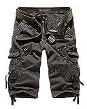 Yonglan Herren Army Shorts Cargo Kurze Hose Reine Farbe Abriebfestes Gewebe Shorts mit Mehreren Taschen Splice Shorts Rauchfarben 40