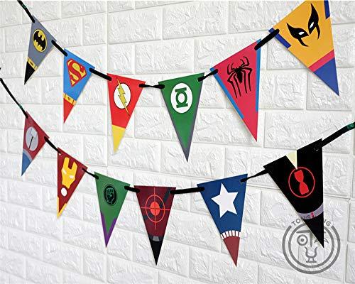 Yichener AW-0745 Superhero Avengers Banner Ironman Batman Superman Babyparty Geburtstag Party Dekoration Kids Event Party Supplies (Avengers Geburtstag Banner)