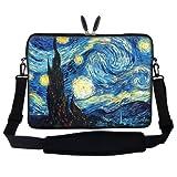 15 39,62 cm Notebook Tragetasche mit verstecktem Griff & verstellbarem Schultergurt - Vincent van Gogh Starry Nights Fadenvorhang