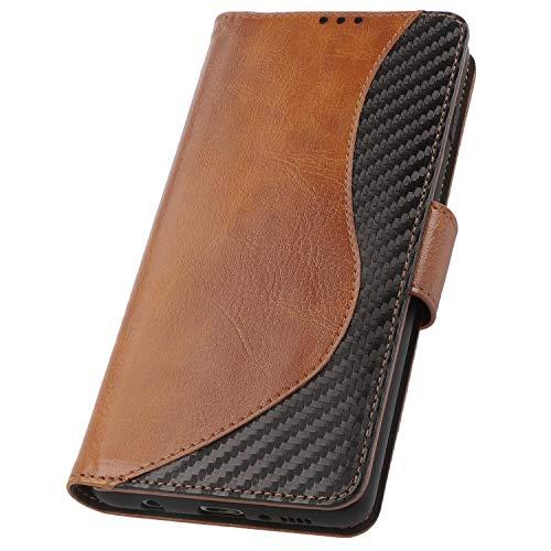 PULSARplus Tasche für Samsung Galaxy S10 Klapphülle, Hülle Cognac-Braun Carbon Design, Handyhülle dünn Schutzhülle 360 Grad Rundumschutz Handytasche klappbar kompatibel mit Samsung Galaxy S10