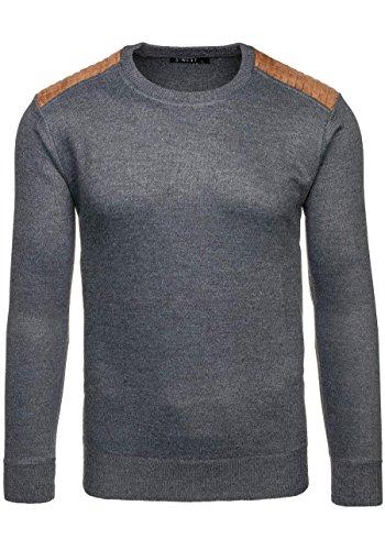 BOLF Strick Jacke Herrenpullover Streifen Hoodie Sweater Mix 1A1 Pulli Grau_6015