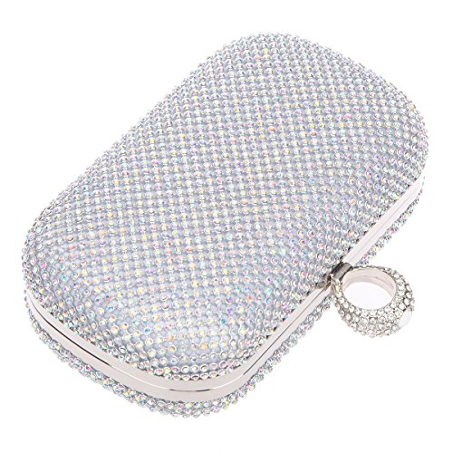 Bonjanvye Knuckles Shining Clutch Purses for Women Handbag and Evening Bags Multicolor AB Silver