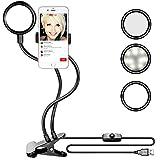 Neewer Abrazadera en LED Selfie Luz de Anillo con Soporte de Teléfono para Transmisión en Vivo, Brillo de 3-nivel, Montaje Giratorio de 360-grado para YouTube, Facebook, iPhone 8/7/6S, Samsung, HTC