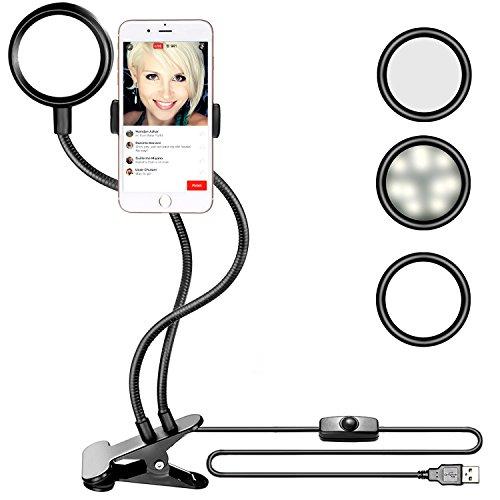 Neewer Handyhalterung mit LED Beleuchtung,3 Stufen Helligkeit, 360°drehbare flexible Schwanenhals Halterung für Selfie Liveübertragung, YouTube Video, Facebook, iPhone, Samsung, HTC (schwarz)