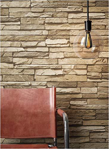 Steintapete Vlies Braun Beige | schöne edle Tapete im Steinmauer Design | moderne 3D Optik für Wohnzimmer, Schlafzimmer oder Küche inklusive NewroomTapezier-Profibroschüre, mit Tipps für perfekteWände