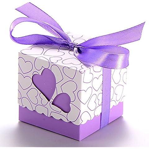 Gleader 100X Bomboniera a cuori battesimo matrimonio tavolo decorazione viola + nastro viola