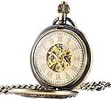 Treeweto classico numeri romani meccanico orologio da tasca ciondolo con catena, bronzo
