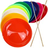 3 pieces Juggling Plates with Wooden or Plastic Sticks, Mixed Colours, Robust with Curved Base - SchwabMarken