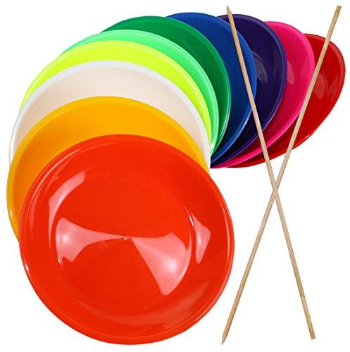 SchwabMarken 5 Jonglierteller BUNT mit Holzstab - Jonglierteller mit Holz- oder Kunststoffstab in vielen verschiedenen Mengen und Farben
