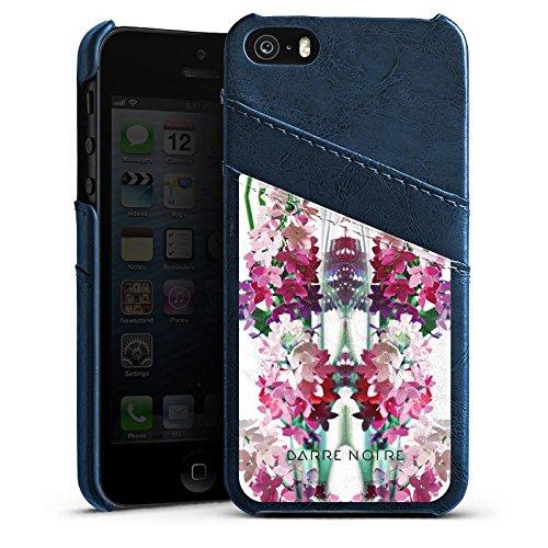 Apple iPhone 4 Housse Étui Silicone Coque Protection Fleurs Fleurs Motif Étui en cuir bleu marine