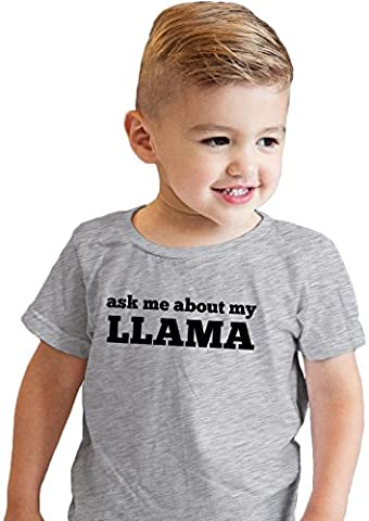 Crazy Dog TShirts - Toddler Ask Me About My Llama Funny Animal Face Flip Up T shirt (grey) 2T -