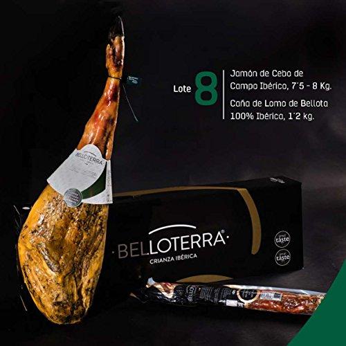 Belloterra Lote 8: Jamón de Cebo de Campo Ibérico (7,5-8,0 kg) y Caña de Lomo de Bellota (1,2 kg aprox) en Caja Regalo