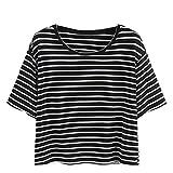 feiXIANG Mode Frauen Damen Schwarz - Weiß Gestreiften t - Shirt Tank Tops Bluse kurzärmliges Hemd (M, Schwarz)