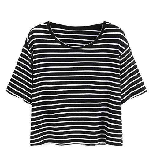 feiXIANG Mode Frauen Damen Schwarz - Weiß Gestreiften t - Shirt Tank Tops Bluse kurzärmliges Hemd (S, Schwarz)