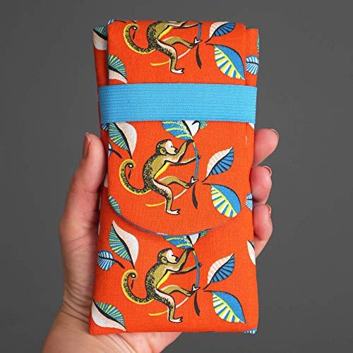 Housse iPhone Xs/Xs Max, Samsung S10 / S10+ taille au choix pochette téléphone portable tissu singe ouistiti orange et bleu