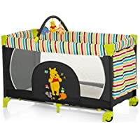 Hauck Disney Baby Dream-n-Play Go Travel Cot with Folding Mattress, 60 x 120 cm,  Pooh Tidy Time, Black