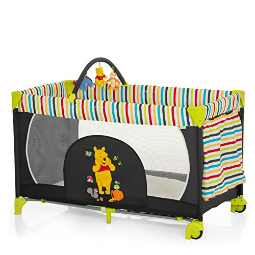 Hauck Lit Parapluie Dream N Play Go Plus, Winnie noir - rayures colorés