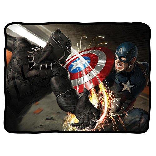 Captain america Bürgerkrieg Black Panther Battle Fleece Blanket schwarz Standard 1 Größe