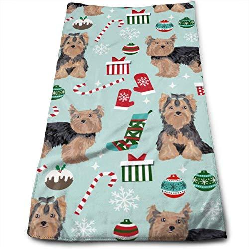 Wodann Yorkie Weihnachten Hund Weihnachten Hunde Yorkshire Terrier Hunde Handtücher Geschirrtuch Floral Leinen Handtuch 11,8