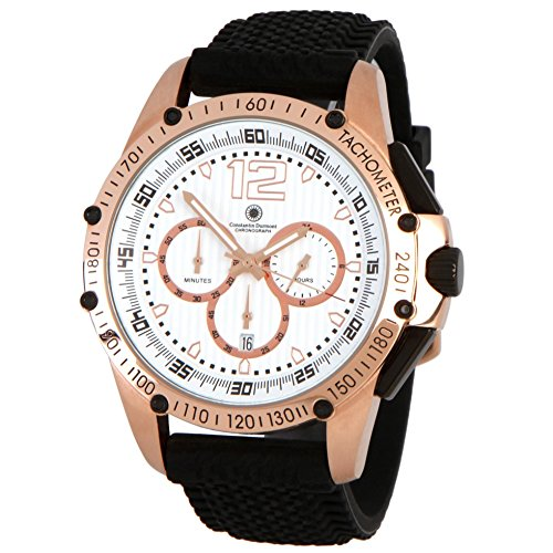 Constantin Durmont Men's Watch Tribute Chronograph Quartz Rubber CD Trib QZ/RB/Rgrg/WH