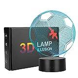 Coquimbo Lampada da notte 3D Lampada da Tavolo 7 Cambiano Colore con Cavo USB per decorazione domestica, regalo di compleanno di Natale (calcio)