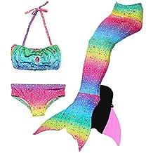 Le SSara 2018 New Girls Mermaid Tails Bikini Traje de baño 4PCS Traje de baño con