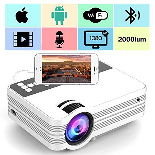 WiFi Projektor, Mini Beamer Full HD 2000 Lumen 1080P HD WiFi Beamer Bluetooth Heimkino Kompatibel Wireless 4K Video Beamer mit HDMI VGA USB AV