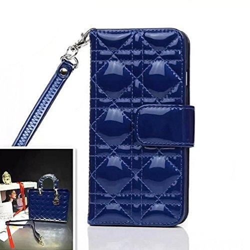 Qualité supérieure brillant lumineux circulaire dépression Étui portefeuille à rabat latéral en cuir style Téléphone portable coverf4m7, Cuir, blanc, iPhone 6 Plus bleu