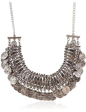 lureme Jahrgang gravierte Münze bib Aussage Halskette Schlüsselbein Halskette (01003295)