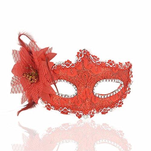 ParttYMask Maskerade,Halloween Maske Make-up Tanz Seite mit Blume Stoffmaske rot Masquerade