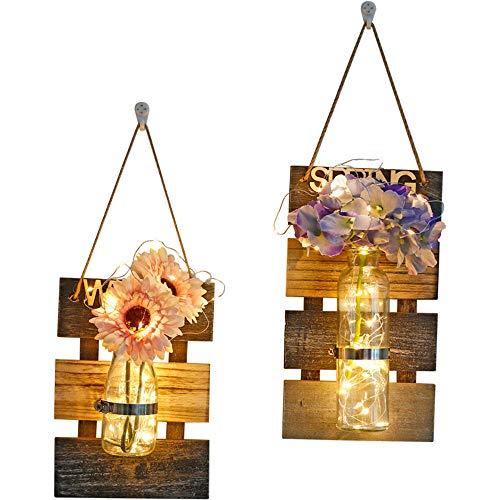 KELUNIS 2019 Hanging Mason Jar Sconces mit LED-Färenlicht, Mason Jar Lights, Rustic Home Decor, Hochzeit Dekor, (Set of 2) (Jars Mason Hochzeit)