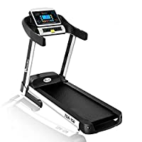Powermax Fitness TDA-150 2.5 HP (5 HP Peak) Motorized Treadmill - Free Installation Service - 3 Years Motor Warranty - with 5.5 inch Bright Blue LCD Display, Auto Incline and Hydraulic Softdrop