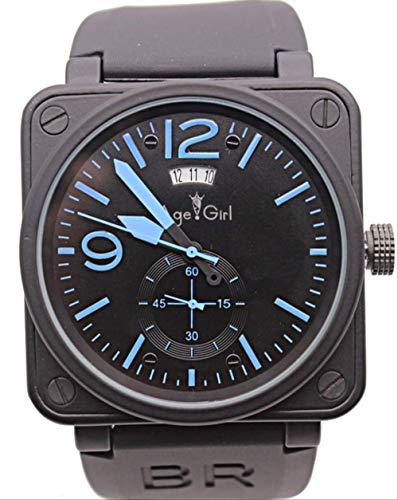 HHGDSB Herren Automatik Mechanik GMT Datum Limited Edition Uhr Bell Aviation Herren Sport Taucheruhren Black Case DayBlue