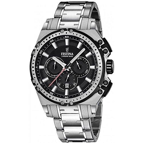 Festina CHRONO BIKE 2016 F16968/4 – Reloj de pulsera con cronógrafo para hombre (mecanismo de cuarzo, esfera color negro y correa de acero inoxidable color plateado)