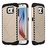 Cadorabo Coque pour Samsung Galaxy S6, Gardien Or Design Hybrid TPU Gel Silicon Hard...