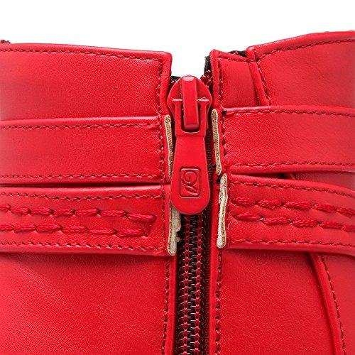 VogueZone009 Donna Cerniera Tacco Alto Bassa Altezza Stivali con Fibbia In Metallo Rosso