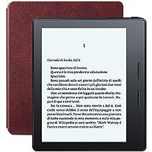 E-reader Kindle Oasis con custodia-caricatore in pelle bordeaux, schermo da