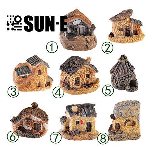 Moose House (SUN-E 8(zufällige Farbe) im Set Moos Fairy Miniatur Fairy Garden Stone House Statue Home Dekoration Outdoor Decor)