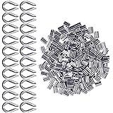 Manopole in Alluminio 200 pz per Cavo Metallico 2mm Diametro Cavo Ditali in Alluminio Doppio Puntale Crimpatura Cavo + 20 pezzi M2 304 Acciaio Inossidabile Ditale (Tono Argento)