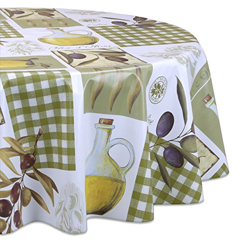 Wachstuchtischdecke OVAL und RUND Motiv u. Größe wählbar, Tischdecke abwischbar (Oval 140x200 cm Oliven)