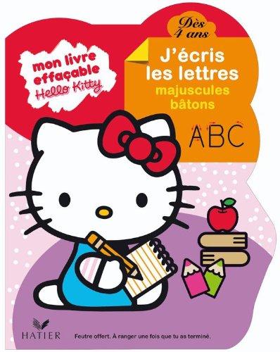 Hello Kitty - J'écris les lettres majuscules bâtons dès 4 ans - livre ardoise