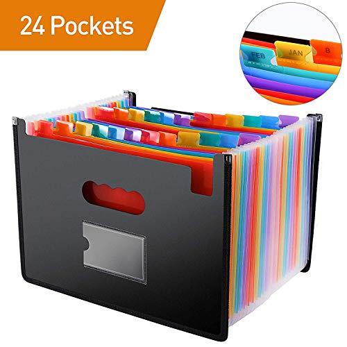 Classeur de dossiers / 24 pochettes Pressage à chaud formant un classeur avec rebord en tissu et guides de fichiers, format A4 accordéon avec support (Multi-Color)
