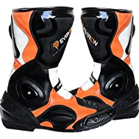 EVIRON Botas de Moto Negro Naranja protectora